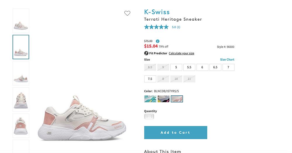 K-Swiss Terrati Heritage Sneaker $75.00Information $15.0479% off