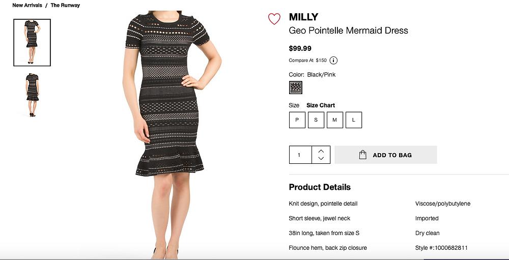 MILLY Geo Pointelle Mermaid Dress  $99.99