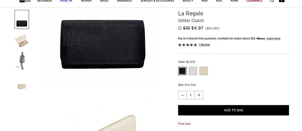 La Regale Glitter Clutch $4.97 (85% OFF)