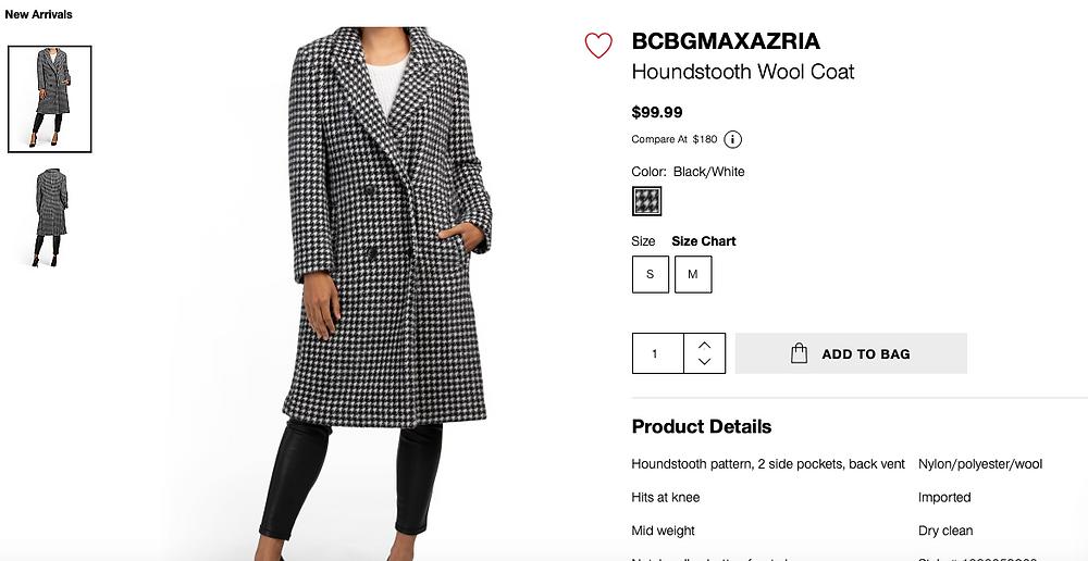 BCBGMAXAZRIA Houndstooth Wool Coat  $99.99