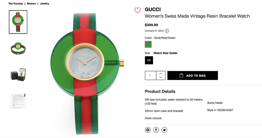 GUCCI Women's Swiss Made Vintage Resin Bracelet Watch  $399.99