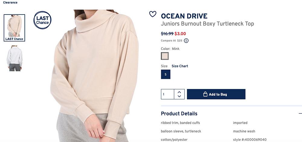 OCEAN DRIVE Juniors Burnout Boxy Turtleneck Top $3.00