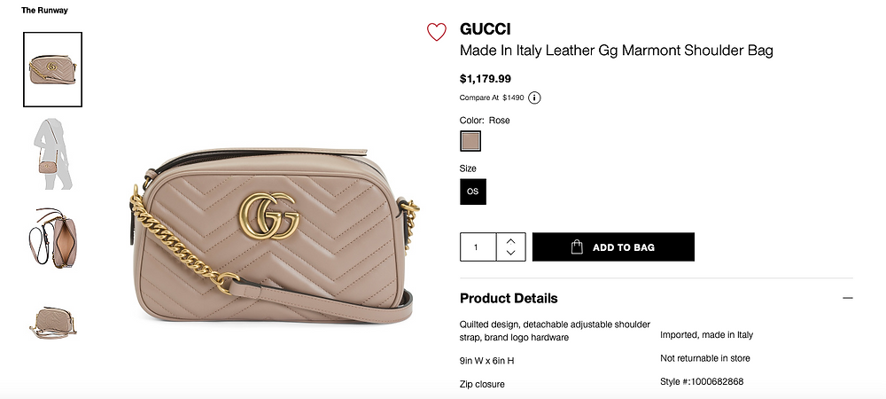 GUCCI Made In Italy Leather Gg Marmont Shoulder Bag  $1,179.99