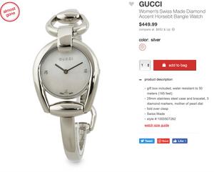 GUCCI Women's Swiss Made Diamond Accent Horsebit Bangle Watch