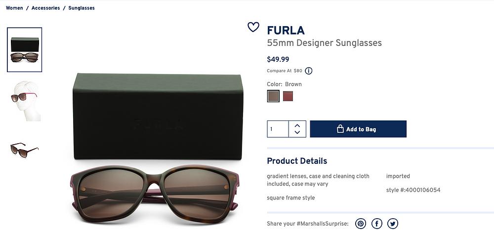 FURLA 55mm Designer Sunglasses  $49.99