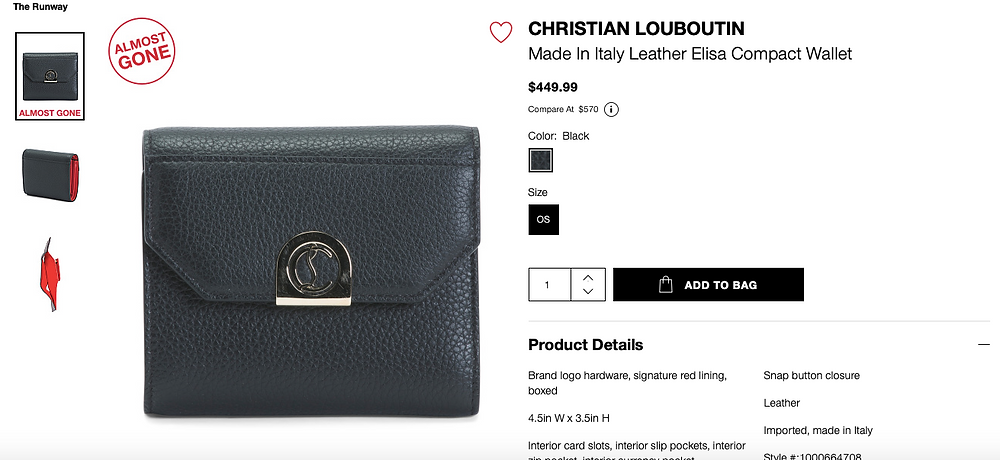 CHRISTIAN LOUBOUTIN Made In Italy Leather Elisa Compact Wallet  $449.99