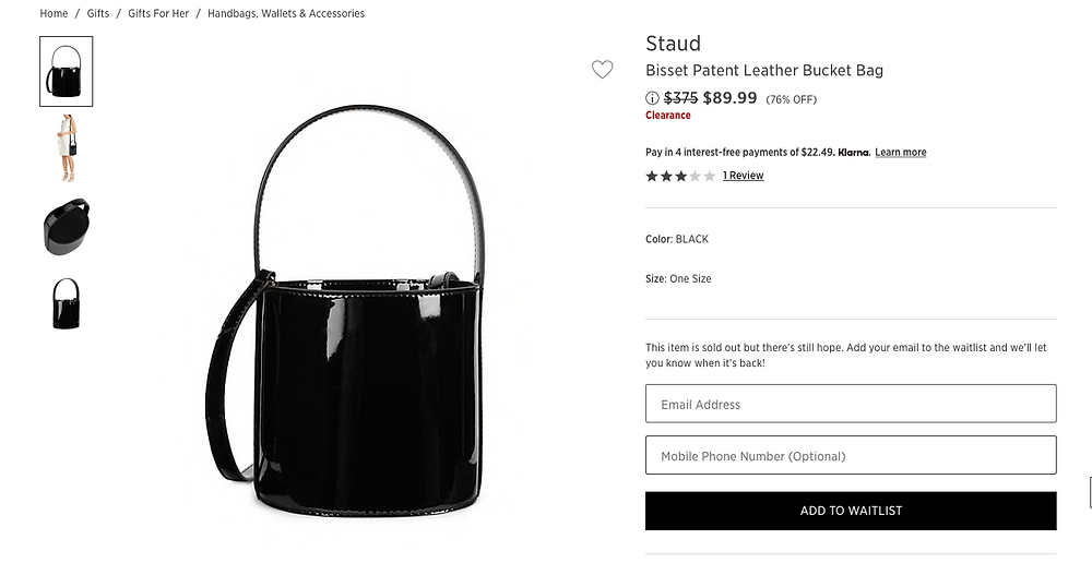 Staud Bisset Patent Leather Bucket Bag