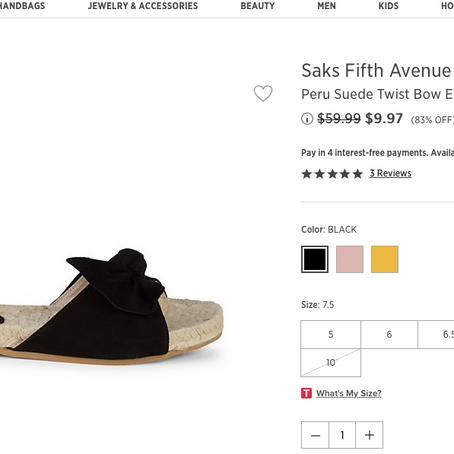 $9.97 Saks Fifth Avenue Shoes