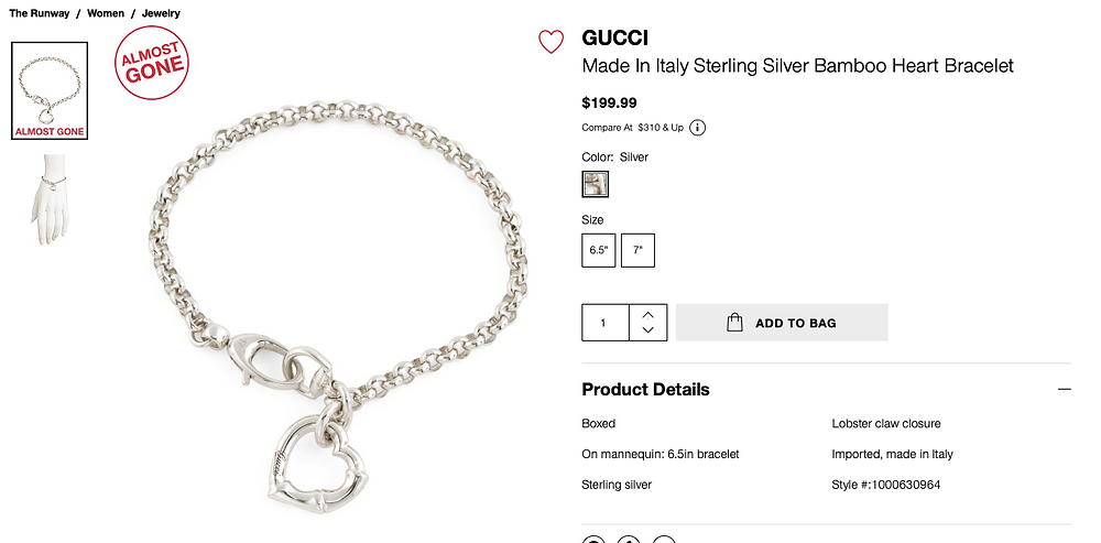 GUCCI Made In Italy Sterling Silver Bamboo Heart Bracelet  $199.99
