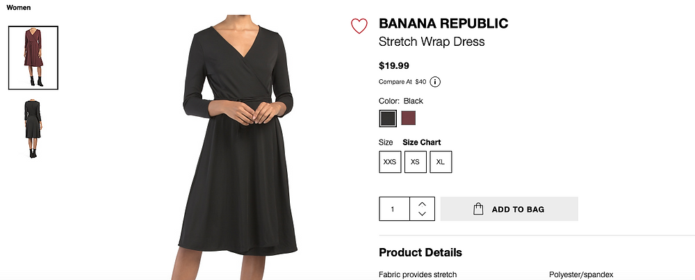 BANANA REPUBLIC Stretch Wrap Dress  $19.99