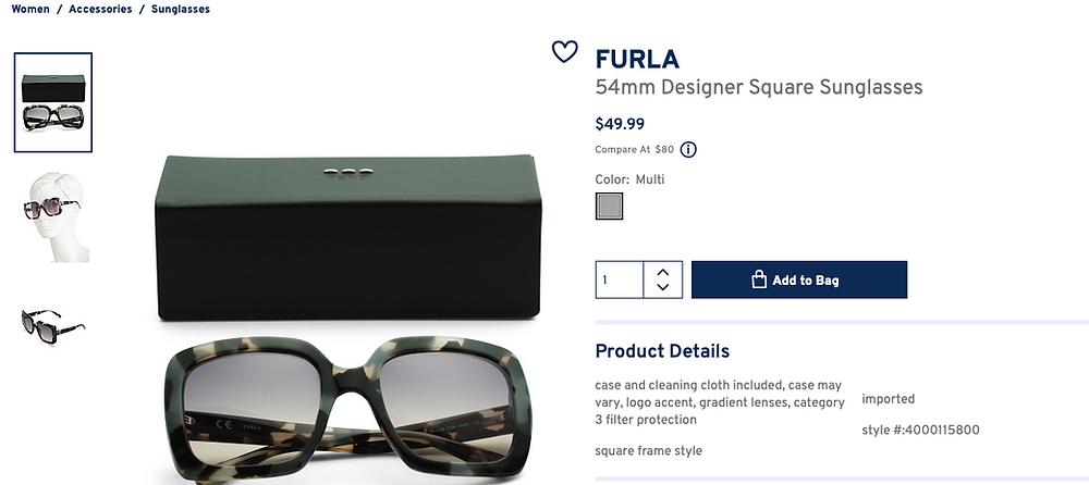 FURLA 54mm Designer Square Sunglasses  $49.99