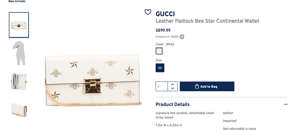 GUCCI Leather Padlock Bee Star Continental Wallet  $899.99
