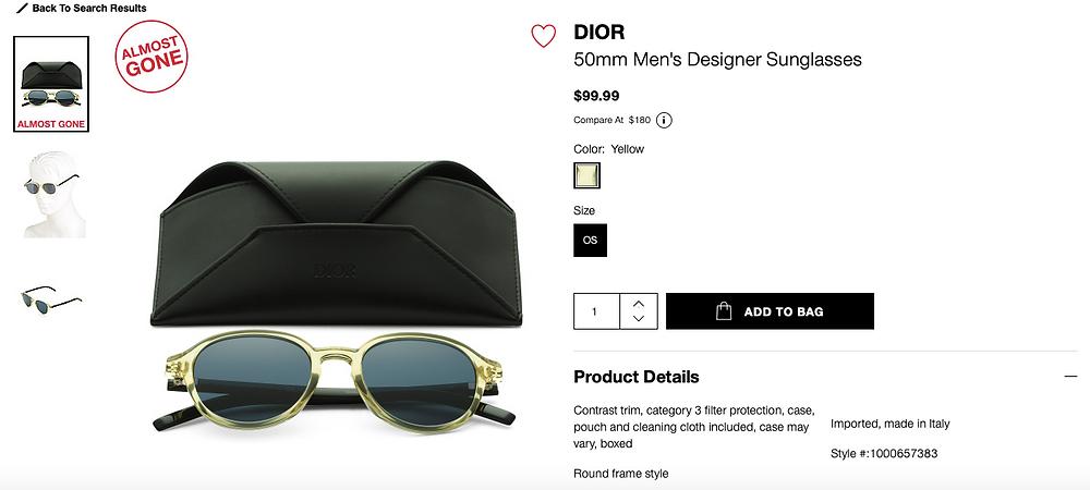 DIOR 50mm Men's Designer Sunglasses  $99.99