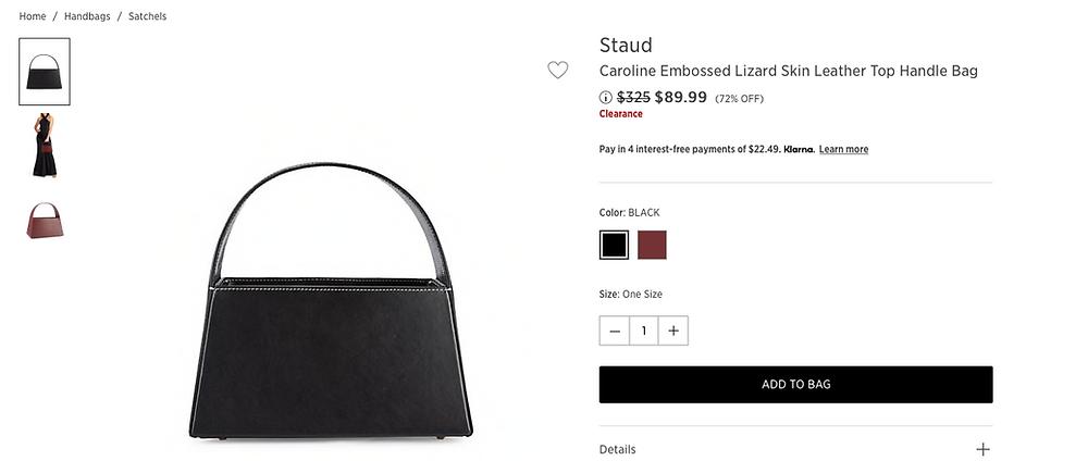 Staud Caroline Embossed Lizard Skin Leather Top Handle Bag $89.99 (72% OFF)