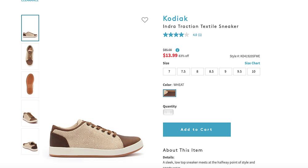 Kodiak Indra Traction Textile Sneaker  4.0   (1) $85.00Information $13.9983% off