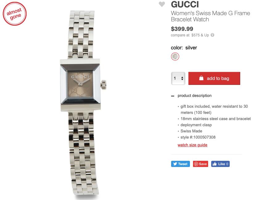 GUCCI Women's Swiss Made G Frame Bracelet Watch
