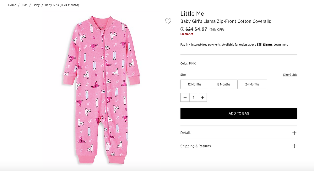 Little Me Baby Girl's Llama Zip-Front Cotton Coveralls $4.97 (79% OFF)