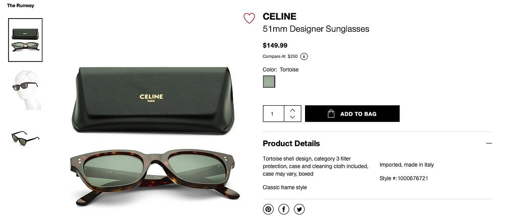 CELINE 51mm Designer Sunglasses $149.99