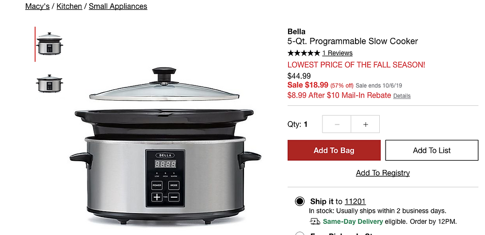 Bella 5-Qt. Programmable Slow Cooker On Sale
