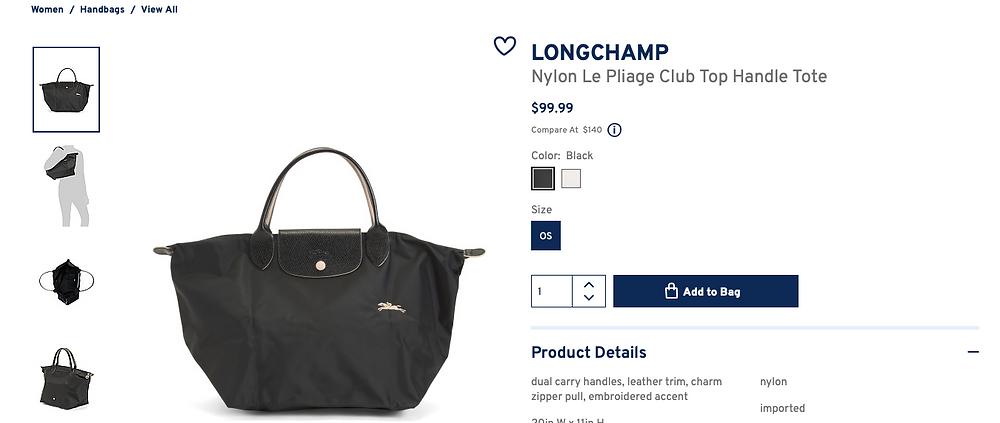 LONGCHAMP Nylon Le Pliage Club Top Handle Tote  $99.99