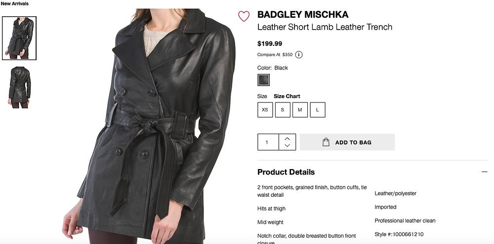 BADGLEY MISCHKA Leather Short Lamb Leather Trench  $199.99