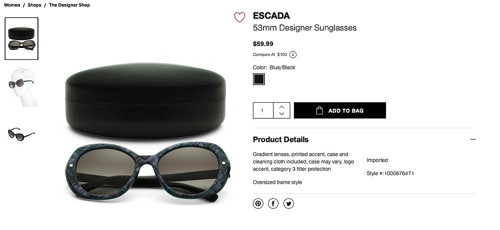 ESCADA 53mm Designer Sunglasses  $59.99