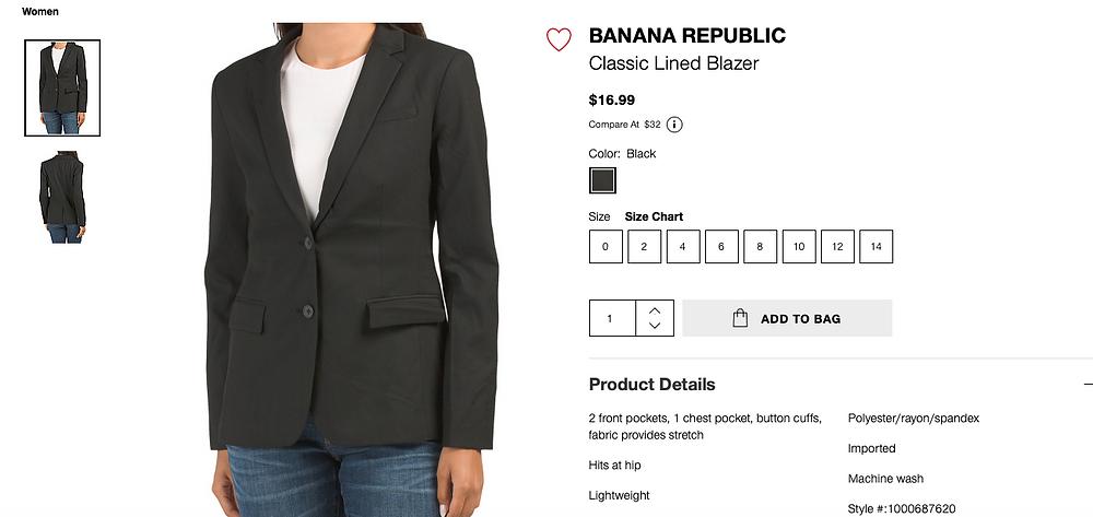BANANA REPUBLIC Classic Lined Blazer $16.99