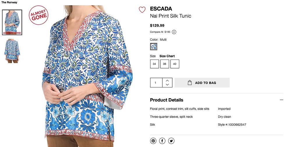 ESCADA Nai Print Silk Tunic  $129.99