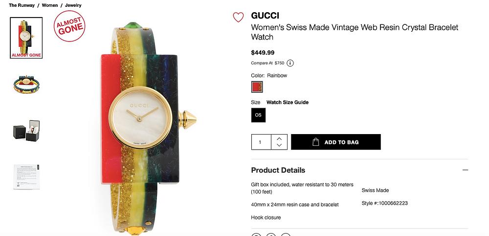 GUCCI Women's Swiss Made Vintage Web Resin Crystal Bracelet Watch