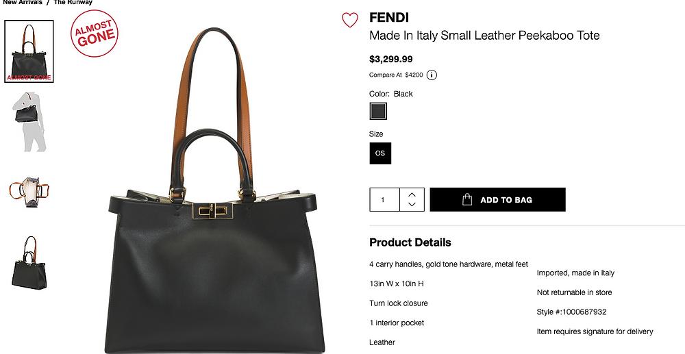 FENDI Made In Italy Small Leather Peekaboo Tote  $3,299.99