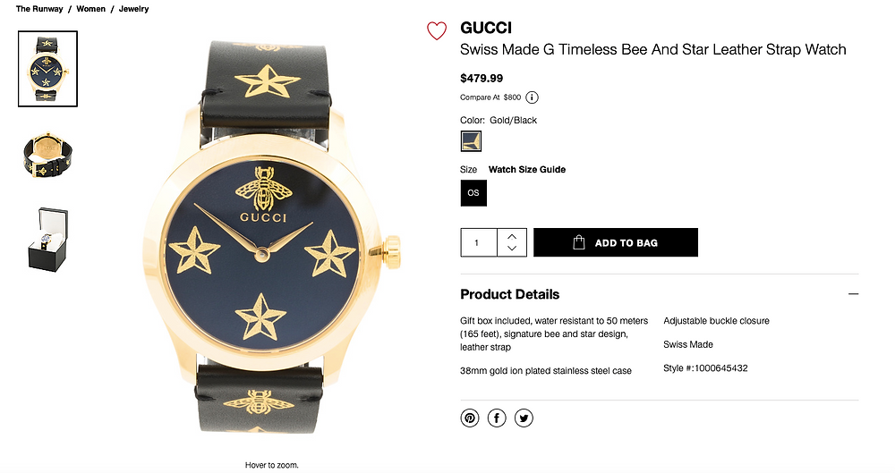 GUCCI Swiss Made G Timeless Bee And Star Leather Strap Watch  $479.99 Compare At  $800