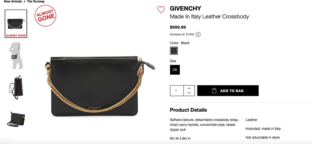 GIVENCHY Made In Italy Leather Crossbody  $999.99