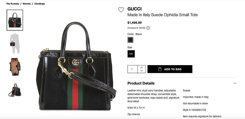 GUCCI Made In Italy Suede Ophidia Small Tote  $1,499.99 Compare At  $2200