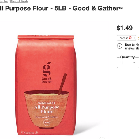 Cheapest Flour Is In Target ($1.49 For 5 Lbs)