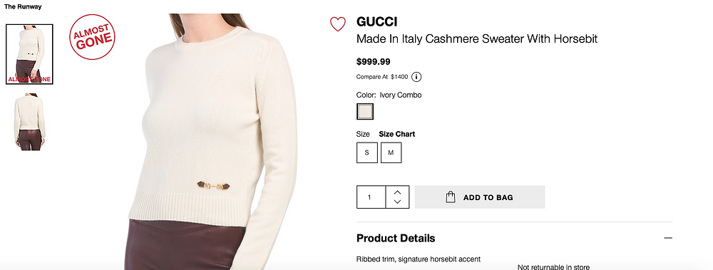 GUCCI Made In Italy Cashmere Sweater With Horsebit $999.99