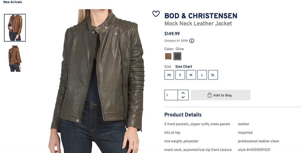 BOD & CHRISTENSEN Mock Neck Leather Jacket  $149.99