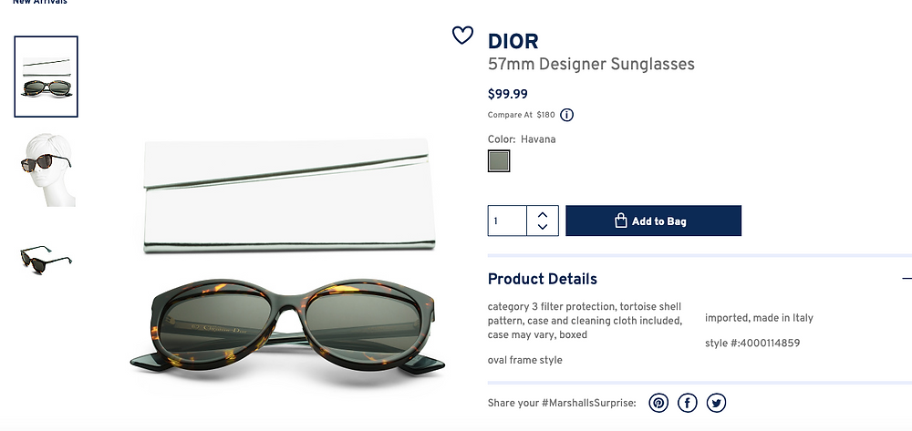 DIOR 57mm Designer Sunglasses  $99.99