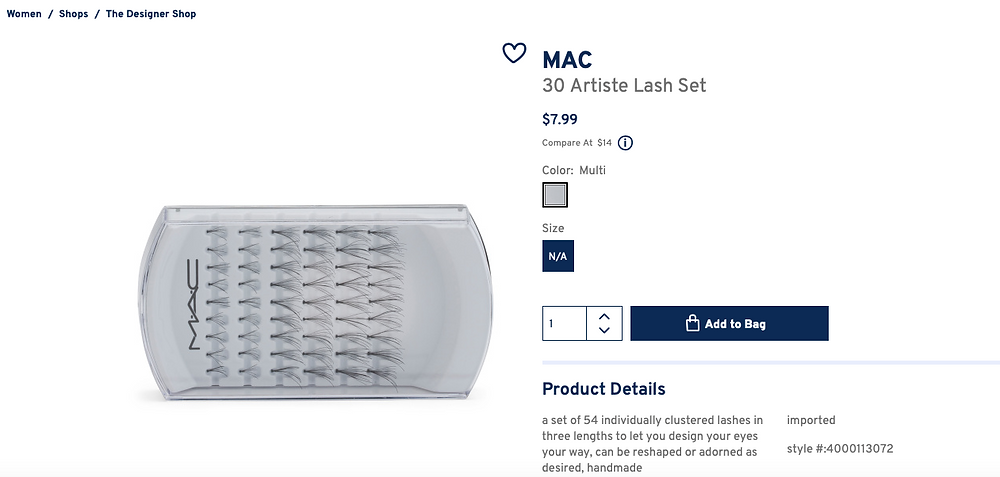 MAC 30 Artiste Lash Set  $7.99