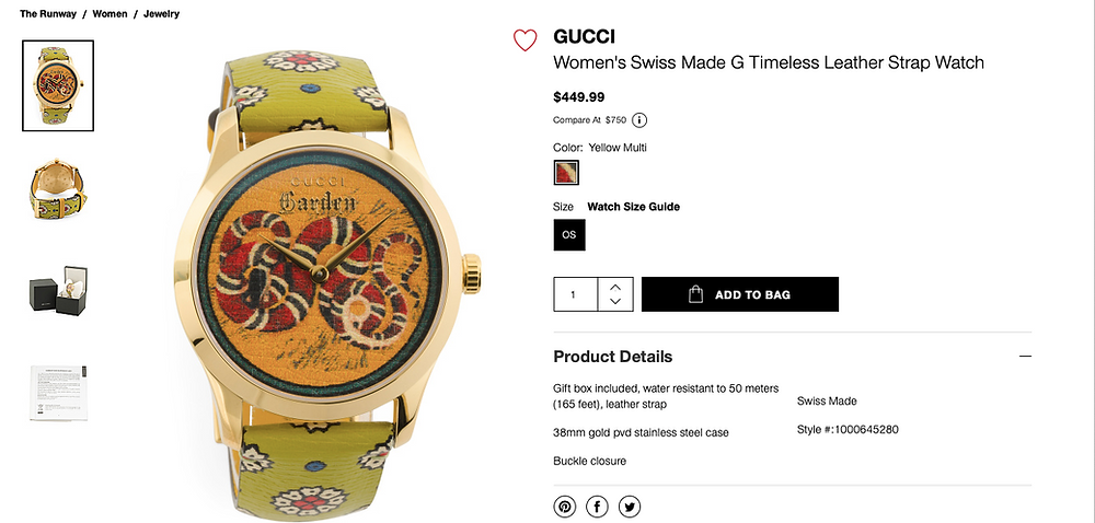 GUCCI Women's Swiss Made G Timeless Leather Strap Watch  $449.99