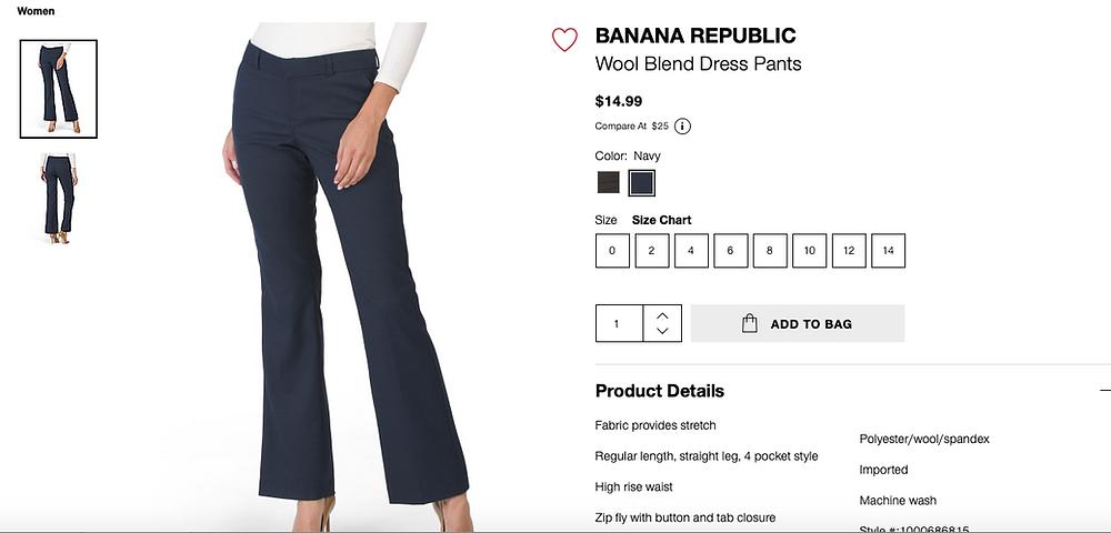 BANANA REPUBLIC Wool Blend Dress Pants $14.99