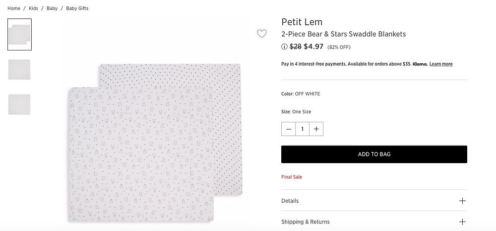Petit Lem 2-Piece Bear & Stars Swaddle Blankets  $4.97 (82% OFF)