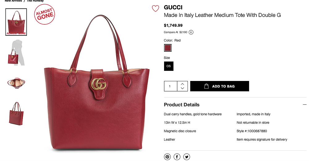 GUCCI Made In Italy Leather Medium Tote With Double G  $1,749.99