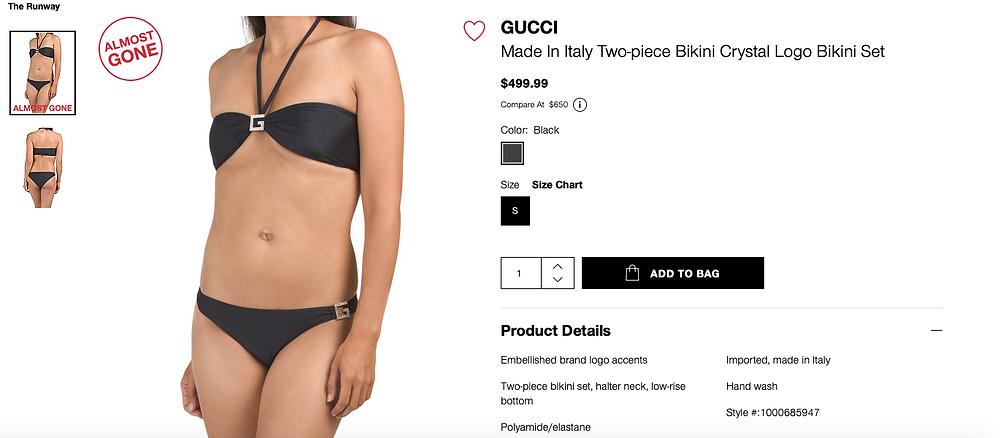 GUCCI Made In Italy Two-piece Bikini Crystal Logo Bikini Set  $499.99