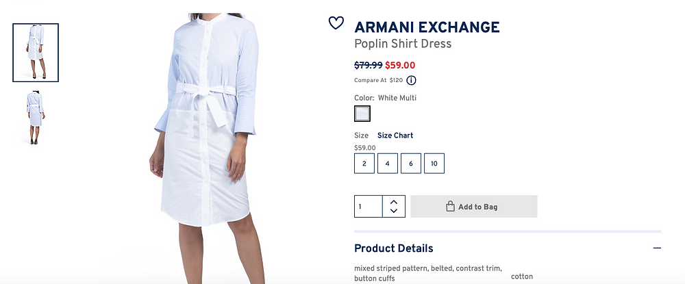 ARMANI EXCHANGE Poplin Shirt Dress $59.00