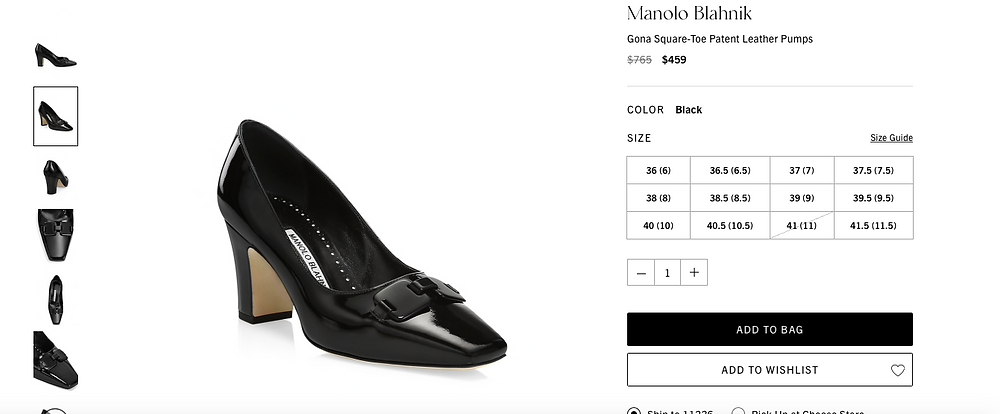 Manolo Blahnik Gona Square-Toe Patent Leather Pumps Price reduced from  $765 to $459