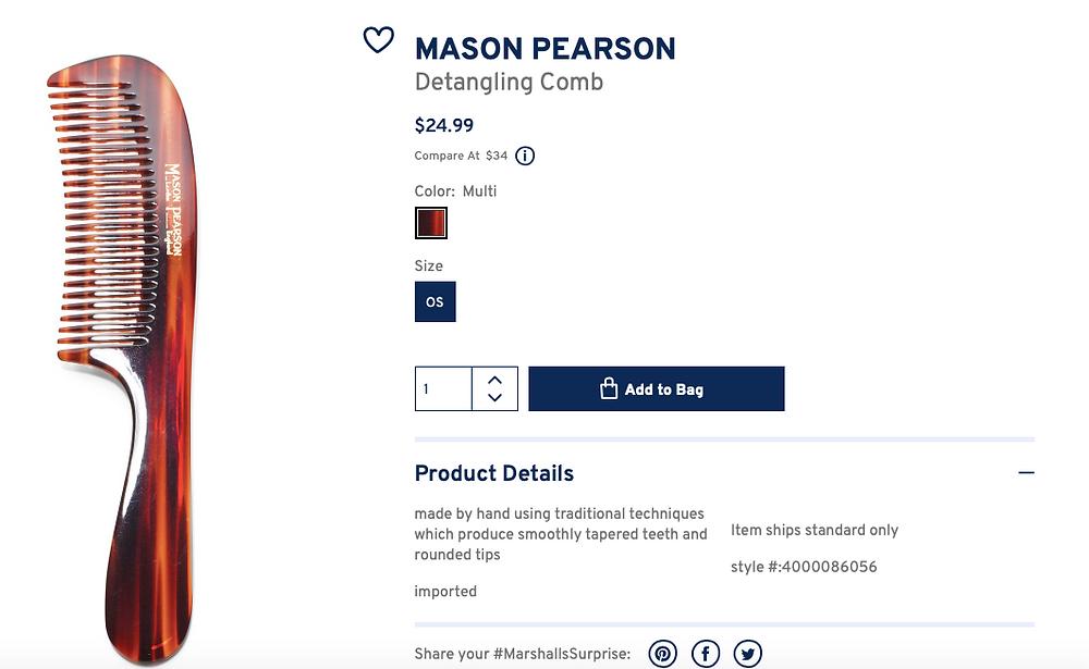 MASON PEARSON Detangling Comb  $24.99