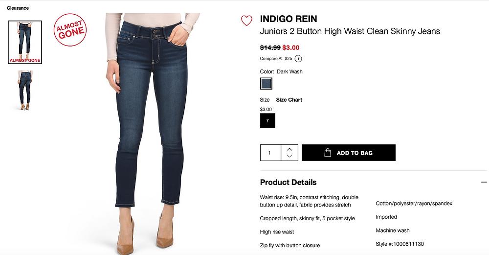 INDIGO REIN Juniors 2 Button High Waist Clean Skinny Jeans $3.00