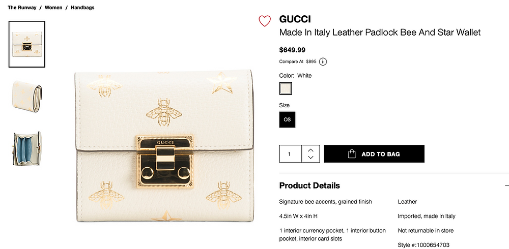 GUCCI Made In Italy Leather Padlock Bee And Star Wallet  $649.99