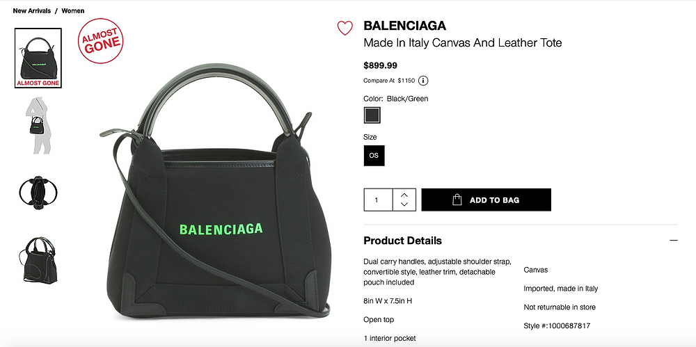BALENCIAGA Made In Italy Canvas And Leather Tote  $899.99