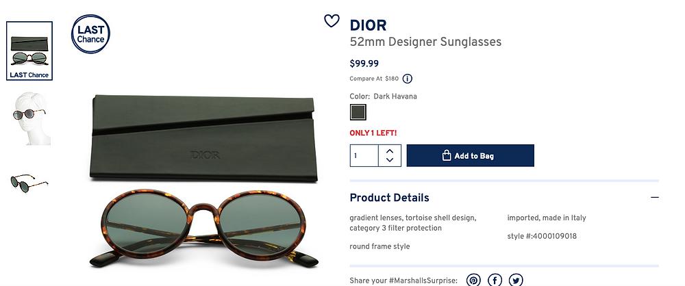 DIOR 52mm Designer Sunglasses  $99.99